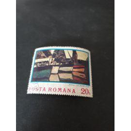 bateau de pêche à honfleur tableau monet timbre roumanie tp14