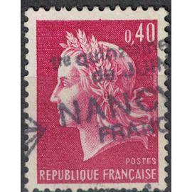 France 1970 Oblitéré Used Marianne de Cheffer 0,40 franc rouge lilas SU
