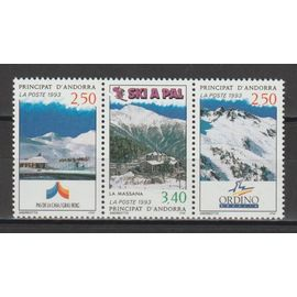 andorre français, 1993, stations de ski andorranes, n°429A (le triptyque), neuf.