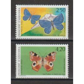 andorre français, 1993, protection de la faune (les papillons), n°432 + 433, neufs.