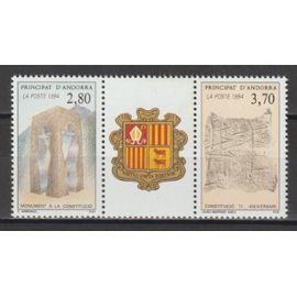 andorre français, 1994, 1er anniversaire de la constitution, n°443A (le triptyque), neuf.
