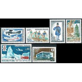 france 1968, beaux timbres 1549 journée timbre, 1554 congrès langues vivantes à royan, 1561 foret de rambouillet, 1565 liaison aérienne st nazaire paris, 1573 j.o. de mexico, 1574 exp polaires, nfs**