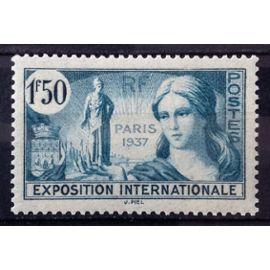 Exposition Internationale Paris 1937 1f50 Bleu-Vert (Superbe n° 336) Neuf* - France Année 1937 - N26429