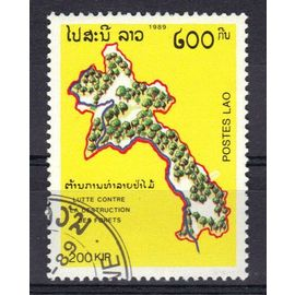 Timbre Laos _Lutte contre la destruction des forêts