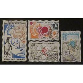 France oblitéré Y et T N° 1704 1705 1710 1711 lot de 4 timbres de 1972 cote 2.45