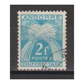 andorre français, 1943-1946, timbres-taxe, type gerbes, n°26, oblitéré.
