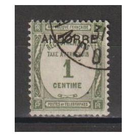 andorre français, 1931-1932, timbres-taxe, timbres de 1927-1931 (recouvrements), n°9, oblitéré.