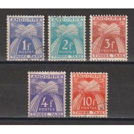 andorre français, 1946-1950, timbres-taxe, type gerbes, n°33 à 36 + 38, oblitérés.