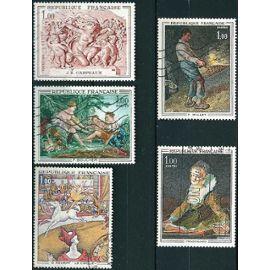 France - joli lot tableaux années 1969 à 1972 -1588A seurat, 1641 carpeaux, 1652 boucher, 1672 millet, et 1702 fragonard, oblit. TBE
