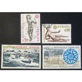 France oblitéré Y et T N° 1789 à 1792 lot de 4 timbres de 1974 cote 2.00