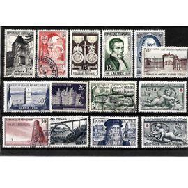 FRANCE-1952/1953-LOT DE 14 TIMBRES OBLITÉRÉS-TRÈS BON ETAT