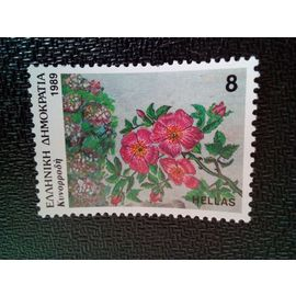 timbre GRECE YT 1715 Rosa canina (chien rose) 1989 ( 070204 )