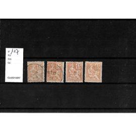 FRANCE-1900-ETUDE SUR TYPE MOUCHON DE 15 C-N°117-LOT DE 4 TIMBRES OBLITÉRÉS-TRÈS BON ETAT