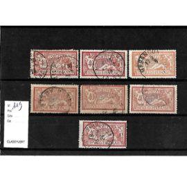 FRANCE-1900-ETUDE SUR TYPE MERSON-N°119-LOT DE 7 TIMBRES OBLITÉRÉS-TRÈS BON ETAT