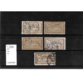 FRANCE-1900-ETUDE SUR TYPE MERSON-N°120-LOT DE 5 TIMBRES OBLITÉRÉS-TRÈS BON ETAT