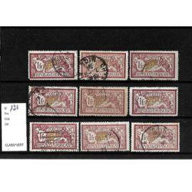 FRANCE-1900-ETUDE SUR TYPE MERSON-N°121-LOT DE 9 TIMBRES OBLITÉRÉS-TRÈS BON ETAT