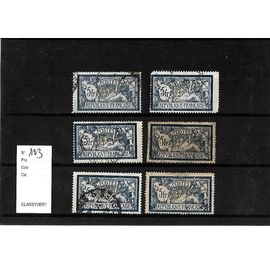 FRANCE-1900-ETUDE SUR TYPE MERSON-N°123-LOT DE 6 TIMBRES OBLITÉRÉS-TRÈS BON ETAT