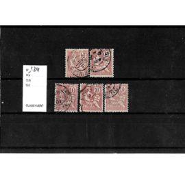 FRANCE-1902-ETUDE TYPE MOUCHON-N°124-LOT DE 5 TIMBRES OBLITÉRÉS-TRÈS BON ETAT