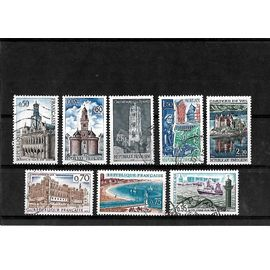 FRANCE-1966/1967-MONUMENTS ET SITES DU N°1499 AU N° 1506-LOT DE 8 TIMBRES OBLITÉRÉS-TRÈS BON ETAT