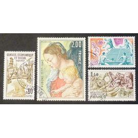 France oblitéré Y et T N° 1952 1957 1958 1961 lot de 4 timbres de 1977 cote 2.95