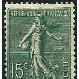 france 1902, beau timbre neuf* yvert 130, semeuse lignée 15c. vert gris.