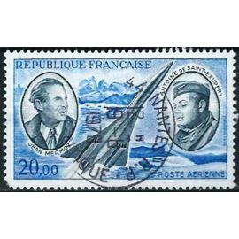 france 1970, bel exemplaire de poste aérienne, yvert 44, hommage à jean mermoz et antoine de saint exupéry, avec vue du concorde, oblitéré, TBE