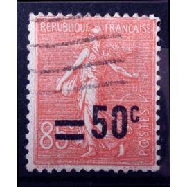 Semeuse Lignée 50c / 85c rouge (Très Joli n° 221) Obl - France Année 1926 - N10986