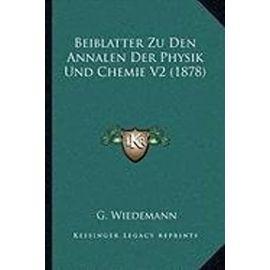 Beiblatter Zu Den Annalen Der Physik Und Chemie V2 (1878) - Unknown