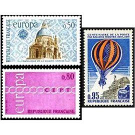 france 1971, très beaux timbres neufs** luxe europa yvert 1676 et 1677, et timbre de poste aérienne yvert 45, centenaire du transport du courrier par ballons montés (commune de paris).