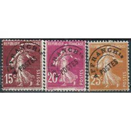 france 1922 / 47, beaux timbres préoblitérés type semeuse, yvert 53 15c. brun lilas, 55 20c. lilas rose et 57 25c. brun jaune, usagés = sans gomme, TBE