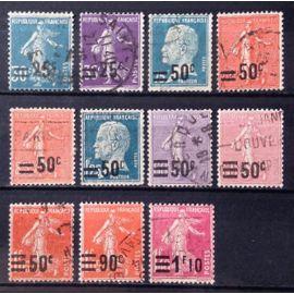 Série Surchargés (Pasteur & Semeuse) de 1926 - Très Jolis N° 217 218 219 220 221 222 223 224 225 226 227 228 Obl - Cote 15,00€ - France Année 1926 - N27810