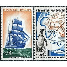 """france 1972, très beaux timbres neufs** luxe yv. 1704 200 ans de la découverte des iles kerguelen, et 1717 voilier à 3 mats terre neuve """"côte d"""