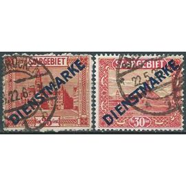 """allemagne, land de sarre adm. française 1922 / 24, beaux timbres de service yvert 8 hotel de ville de sarrebruck et 10 aciéries de volklingen, avec surcharge """"dienstmarke"""", oblitérés, TBE"""