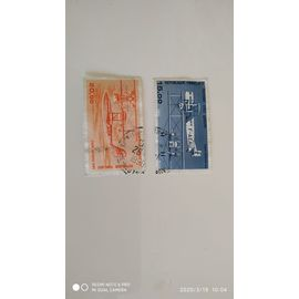 2 TIMBRES POSTE AERIENNE 1984 1985