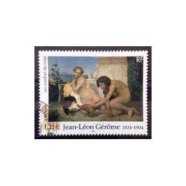 Timbre Oblitéré Peintre et Sculpteur Jean Léon Gérôme France 2004, Tableau un combat de coq, Yvert et Tellier 3660