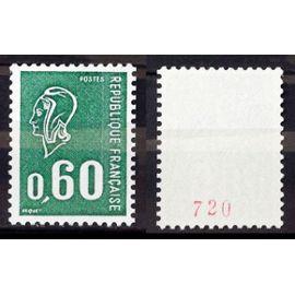 Marianne Béquet 0,60 Vert - Taille Douce / Avec Bequet Bas Gauche - N° Rouge au Verso (Impeccable n° 1815b) Neuf** Luxe (= Sans Trace de Charnière) - Cote 25,00€ - France Année 1974 - N27227