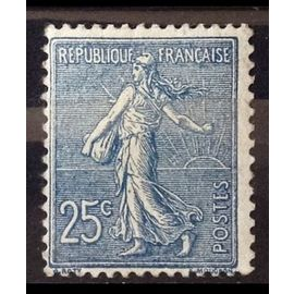 Semeuse Lignée 25c Bleu (Superbe n° 132) Neuf* - Cote 84,00€ - France Année 1903 - N16196