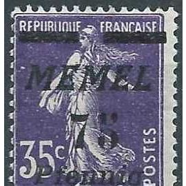 """lituanie, enclave de memel sous adm. française 1922, beau timbre yvert 55, type semeuse 35c. violet surchargé """"memel 75 pfennig"""", neuf*"""