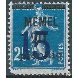 lituanie, enclave de memel sous adm. française 1922, beau timbre yvert 39, type semeuse 25c. bleu avec double surcharge, neuf*