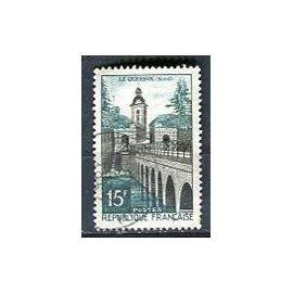 Timbre Oblitéré Pont et Eglise le Quesnoy France Nord 15 francs 1957 Yvert et Tellier n°1106.