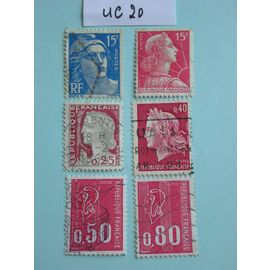 "Lot de 6 timbres ""Marianne"""
