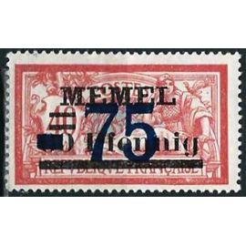 lituanie, enclave de memel sous adm. française 1921 / 22, beau timbre yvert 42, type merson 40c. rouge et bleu vert avec double surcharge, neuf*