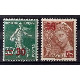 Semeuse 30 / 35c vert (Impeccable n° 476) + Mercure 50 / 75c brun-rouge (Impeccable n° 477) Neufs** Luxe (= Sans Trace de Charnière) - France Année 1941 - N28214