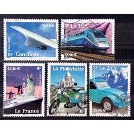 Série Transports 2002 - N° 3471 3472 3473 3474 3475 Obl - Cote 3,40€ - France Année 2002 - N26595