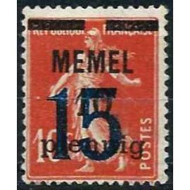 lituanie, enclave de memel sous adm. française 1921 / 22, beau timbre yvert 38, type semeuse 10c. rouge brun avec double surcharge, neuf* - sans gomme.