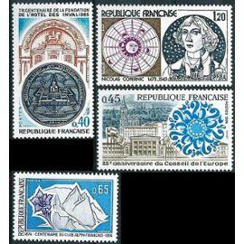 france 1974, commémoratifs, très beaux timbres neufs** luxe yvert 1788, 100 ans club alpin français, 1792, 25ème anniv. conseil de l