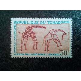 timbre TCHAD YT 147 Art rupestre des montagnes Ennedi, Girafes 1967 ( 090304 )
