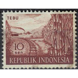 Indonésie 1960 Oblitéré Used Plantation Canne à sucre Saccharum officinarum Chemin de Fer SU