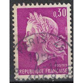 France 1967 Oblitéré Used Marianne la République de Cheffer 0F30 Lilas Y&T 1536 SU
