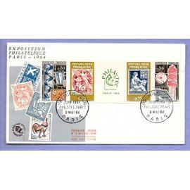 france ENVELOPPE 1ER JOUR TIMBRES N° 1414 1415 1416 1417 EXPOSITION PHILATELIQUE PARIS 9 MAI 1964